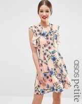 Asos Ruffle Neck Skater Dress in Pretty Floral Print