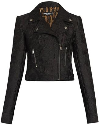 Dolce & Gabbana Cropped Jacquard Moto Jacket