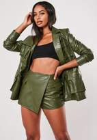 Missguided Green Co Ord Faux Leather Utility Skort