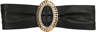 Alessandra Rich Leather Belt With Crystal Chain Buckle