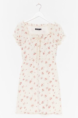 Nasty Gal Womens Lace-Up Your Game Floral Mini Dress - White - 4, White
