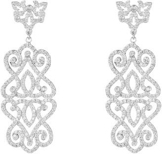 Latelita Regal Rose Statement Drop Earrings White Silver