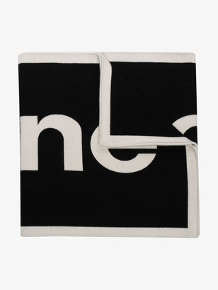 Paco Rabanne Black And White Logo Knit Wool Scarf