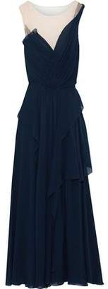 Alberta Ferretti Tulle-paneled Draped Silk-georgette Gown