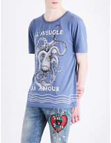 Gucci Embroidered Octopus-print Cotton-jersey T-shirt