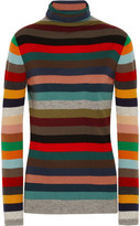Allude Striped Cashmere Turtleneck Sweater - Red