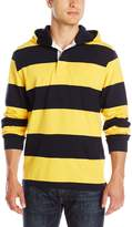 Charles River Apparel Men's Hooded Rugby Pullover, Navy/Gold