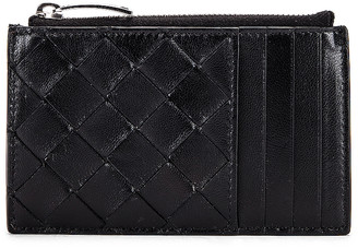 Bottega Veneta Leather Woven Long Card Case Wallet in Black & Silver | FWRD