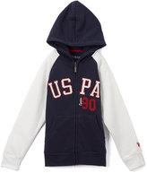 U.S. Polo Assn. Navy & White 'USPA' Zip-Up Raglan Hoodie - Boys