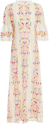 Antik Batik Embroidered Point D'epsrit And Cotton Maxi Dress