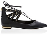 White House Black Market Leather Lace-Up Grommet Flats