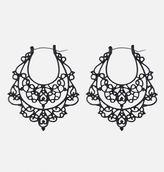 Avenue Onyx Filigree Hoop Earrings