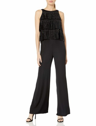 SHO Women's SLVLESS Jumpsuit Fringe Layers and Open Back