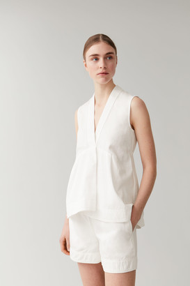Cos Cotton-Linen Sleeveless Top With Pleat Detail