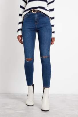 F&F Womens Indigo Fashion Belted Skinny Jeans - Blue