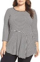 Vince Camuto Plus Size Women's Duo Stripe Asymmetrical Panel Hem Top