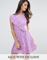 Asos Ruffle Detail Lace Skater Dress