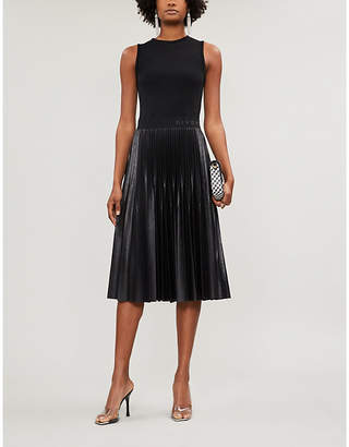 Givenchy Logo-Waistband Crepe And Fauther-Leather Midi Dress