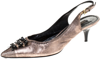 Louis Vuitton Metallic Bronze / Black Leather Bow Detail Pointed Toe Slingback Sandals Size 38