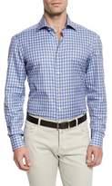 Kiton Ombre-Plaid Woven Sport Shirt, Blue/Camel