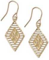 Macy's 10k Two-Tone Gold Earrings, Diamond Cut Earrings