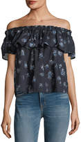 Current/Elliott The Ruffle Floral-Print Top