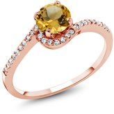 Gem Stone King 1.08 Ct Round Yellow Citrine 18K Rose Gold Ring
