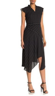 Nanette Lepore Flutter Sleeve Stripe Print Midi Dress