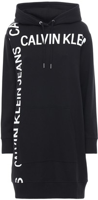 Calvin Klein Jeans Hooded Logo Cotton Jersey Sweat Dress