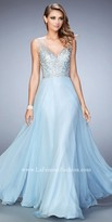 La Femme Sophia Studded Chiffon Prom Dress
