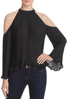 Lush Pleated Cold Shoulder Top