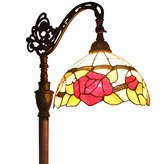 AMORA Amora Lighting AM070FL12 Tiffany Style Roses Reading Floor Lamp 62 In