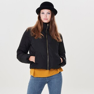 Jacqueline De Yong Short Zipped Padded Jacket with High-Neck
