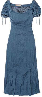 Brock Collection Ruched Crinkled Matte-satin Midi Dress