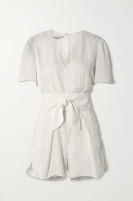 Stella McCartney - Lila Belted Silk-blend Cloque Playsuit - White