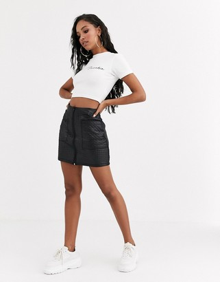 Asos Design DESIGN leather look quilted mini skirt with zip detail-Black