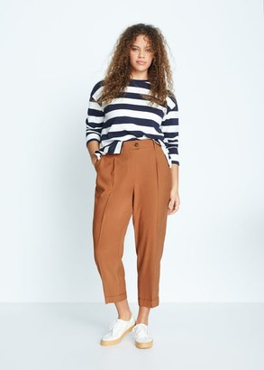 MANGO Violeta BY Tapered fit checked pants burnt orange - S - Plus sizes