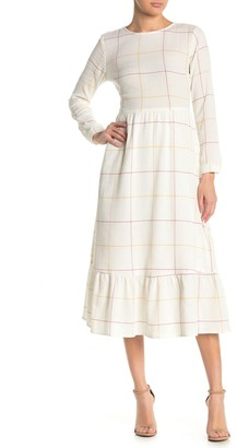 Spirit Of Grace Windowpane Long Sleeve Thermal Midi Dress