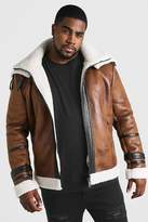 BoohoomanBoohooMAN Mens Brown Big & Tall Double Collar Flight Jacket, Brown