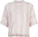 Derek Lam 10 Crosby collarless striped henley shirt - women - Cotton/Linen/Flax - XS