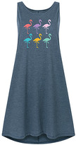 Instant Message Women's Women's Casual Dresses HEATHER - Heather Blue Rainbow Flamingo Shift Dress - Women
