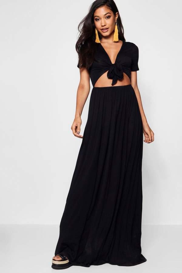 boohoo Knot Front Short Sleeve Maxi Dress