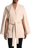 SENTALER Stand Collar Button-Front Belted Cape