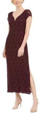 Connected Petite Sequined Lace Column Gown