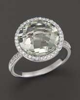 Bloomingdale's Green Amethyst and Diamond Large Halo Ring in 14K White Gold