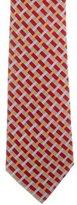 Hermes Plaid Print Silk Tie