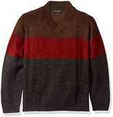 Tricot St. Raphael Men's Big and Tall Mohair Like Acrylic Colorblock Crossover V-Neck Sweater