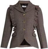 Sonia Rykiel Single-breasted ruffle-trimmed wool-tweed jacket