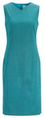 HUGO BOSS V Neck Shift Dress In Sharkskin Virgin Wool - Turquoise