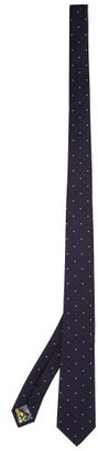 Paul Smith Heart-pattern Silk-twill Tie - Navy